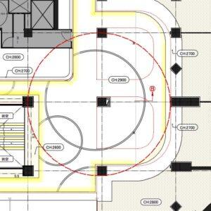 折り上げ天井 Ⓑ 部の断面図と詳細図
