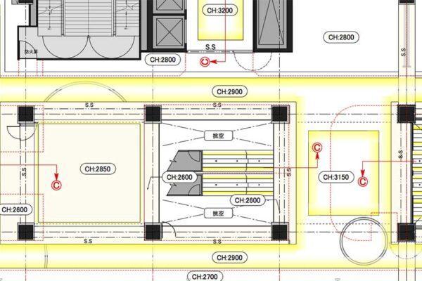 折り上げ天井 Ⓒ 部の断面図と詳細図